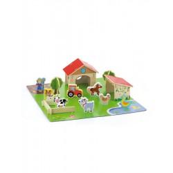 Detské drevené 3D puzzle Viga Farma