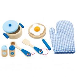 Detský drevený riad Viga-raňajky modrý