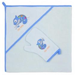 Detská osuška s žinkou Bobas Fashion Chameleon modrá