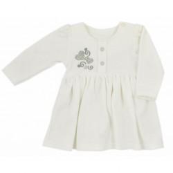 Dojčenské semiškové šatôčky Koala Golden Heart krémové strieborné srdce