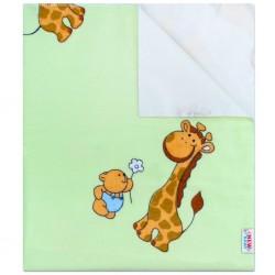 Nepremokavá flanelová podložka New Baby zelená so žirafkou