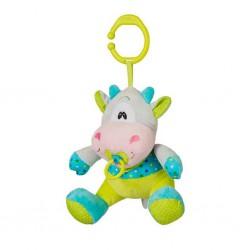 Plyšová hračka s hracím strojčekom Baby Ono Kravička tyrkysovo zelená