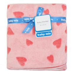 Detská obojstranná deka Baby Mix ružová so srdiečkami