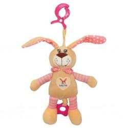 Detská plyšová hračka s hracím strojčekom Baby Mix králiček ružový