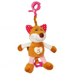 Detská plyšová hračka s hracím strojčekom Baby Mix liška ružový