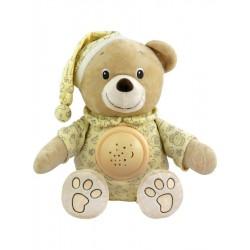 Plyšový medvedík v čiapočke s projektorom Baby Mix krémový