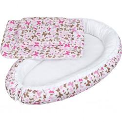 Luxusné hniezdočko s perinkou pre bábätko New Baby ružové motýle