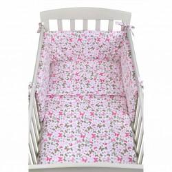 3-dielne posteľné obliečky New Baby 90/120 cm ružové motýle