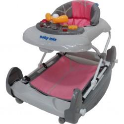 Detské chodítko s hojdačkou Baby Mix pink
