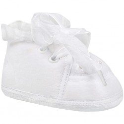 Detské capáčky Bobo Baby zateplené kožušinkou 6-12m biele so saténovou šnurovačkou