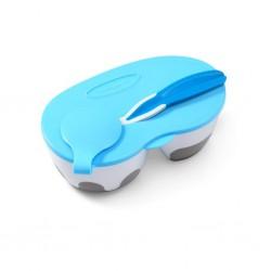 Detská dvojkomorová miska s lyžičkou Baby Ono modrá 200 a 150 ml