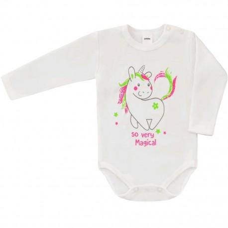 Dojčenské body s dlhým rukávom Unicorn Amma béžové