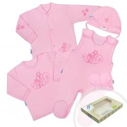5-dielna súpravička New Baby Veveričky v krabičke ružová