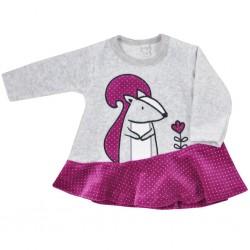Dojčenské semiškové šatôčky Koala Veverička fialovo-sivé