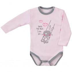 Dojčenské body s dlhým rukávom Koala Swing ružové