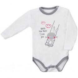 Dojčenské body s dlhým rukávom Koala Swing biele