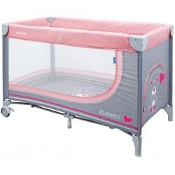 Detská cestovná postieľka Baby Mix Medvedík pink