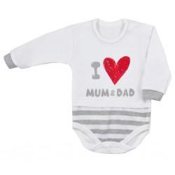 Dojčenské body s dlhým rukávom Koala Mum and Dad