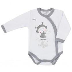 Dojčenské body s bočným zapínaním Koala Clouds biele