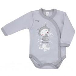 Dojčenské body s bočným zapínaním Koala Clouds sivé