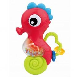 Hrkálka Baby Mix s melódiou morský koník červený