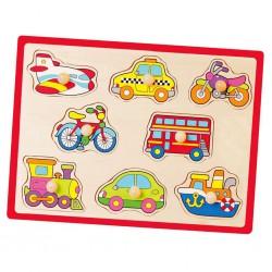 Detské drevené puzzle s úchytmi Viga Vozidlá