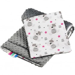 Obojstranný Set z Minky do kočíka New Baby teddy sivý