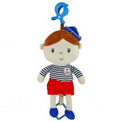 Edukačná hrajúca plyšová bábika Baby Mix námorník chlapec
