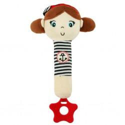 Detská pískacia plyšová hračka s hryzátkom Baby Mix námorník dievča