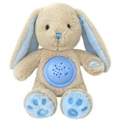 Plyšový zajačik s projektorom Baby Mix modrý