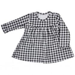 Dojčenské bavlnené šatôčky Koala Checkered čierno-biele