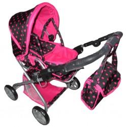 Detský kočík pre bábiky 2v1 Baby Mix ružový s bodkami