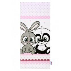 Flanelová plienka s potlačou New Baby biela kralik a panda