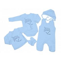 5-dielna dojčenská súprava biela Nicol Ježek modrá  56 62